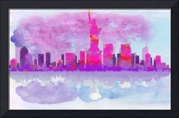 New York City Silhouette in Hot Pink and Purple