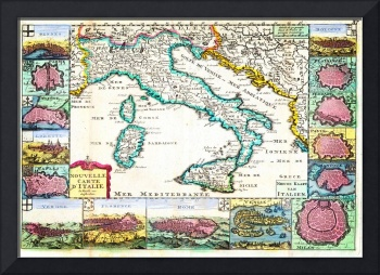 1706 de la Feuille Map of Italy by Geographicus It
