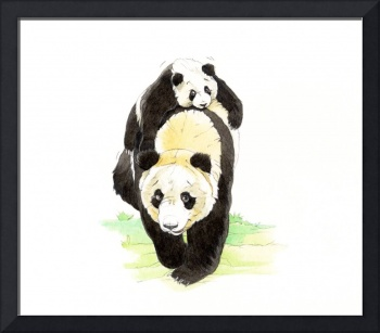 Mommy Panda and  her cub walking