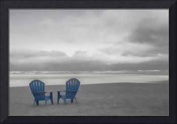 Two Blue Beach Chairs