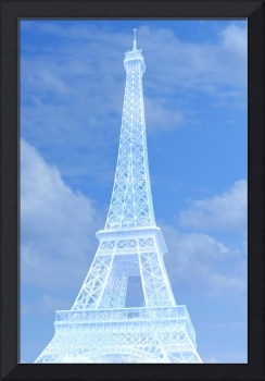 Eiffel Tower in Blue and White