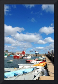 Beautiful Blue Autumn Sky with Small Boats