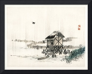 Cottage on the River by Kono Bairei