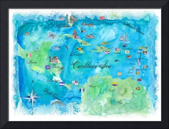 Caribbean Cruise Travel Poster Map Antilles & Co.