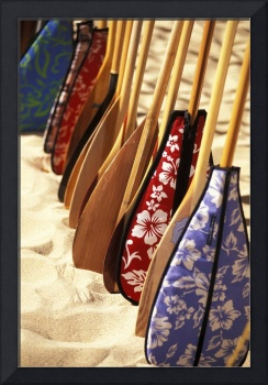 Hawaii, Paddles With Aloha Print Covers Lined Up A
