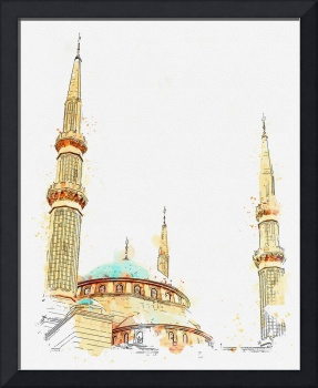 Mosque, Beirut, Lebanon  c2019,  c2019, watercolor