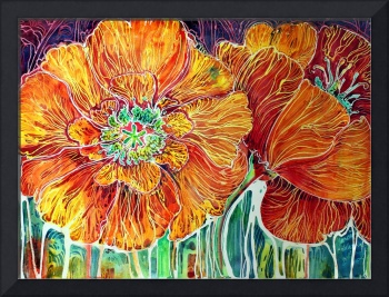 Poppies in Batik on Canvas ~ An original by Marcia