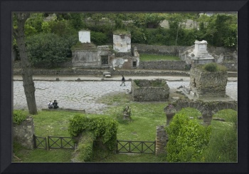 High angle view of tourists at a place of burial