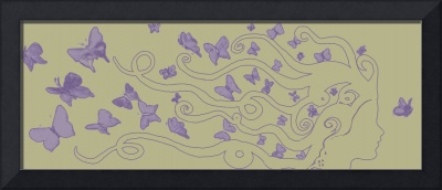 lilac female silhouette with butterflies
