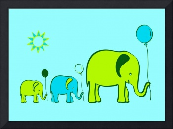 Balloon elephants - blue