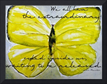 Yellow Buttercup Butterfly With Quote Overlay