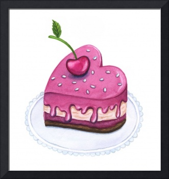 Sweet cherry cake full of Love