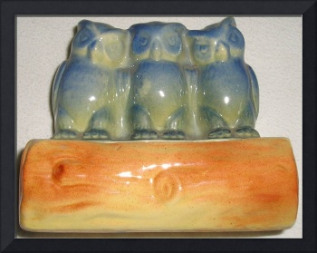 Three Blue Owls Vintage Planter