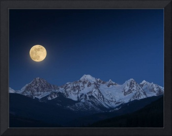 Full Moon over the Twin Sisters Mountains.