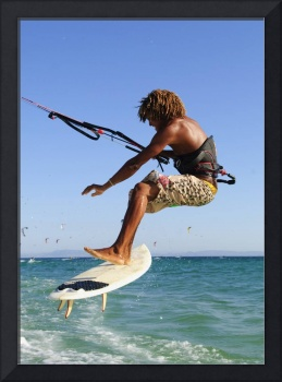 Young Man Kite Surfing, Costa De La Luz, Andalusia