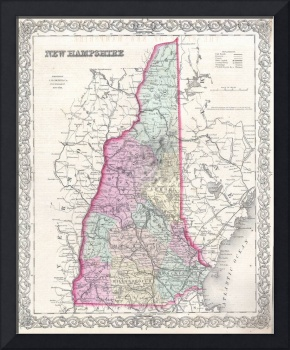 Vintage Map of New Hampshire (1855)