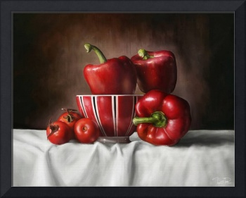 Classic still life with peppers and tomatoes