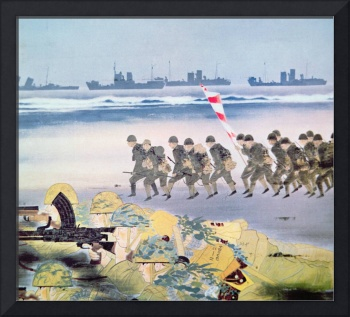 Japanese invasion of Guam (w/c on paper) by Ezaki