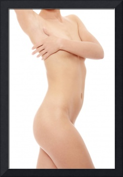 Close up photo of nude body of young fit female.