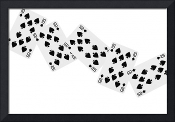 Playing Cards Ten of Spades on White Background