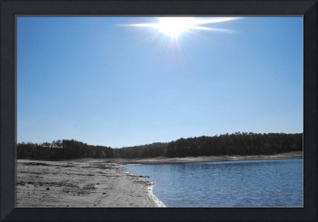 Sun with Blue Sky & Water-color with B&W