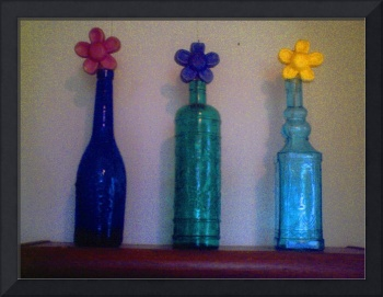 Colored Glass Bottles with Daisys by JudyMarisa