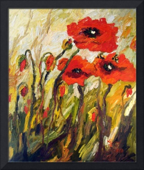 Red Poppy Patch Original Oil Painting by Ginette C