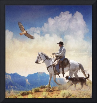 cowboy with dog and hawk
