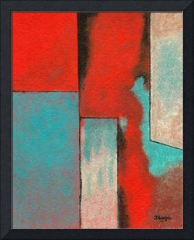 Abstract Art Contemporary Painting Red Aqua Black