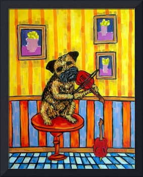 Border Terrier playing the Violin