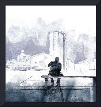 Sitting landscape monoprint. Created by Mike Godwi