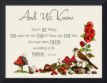 Bible Verse With Drawings of Bird, Mice, Toadstool