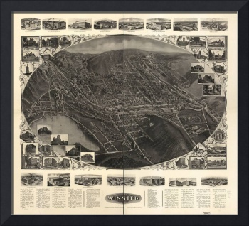 1908 Winsted, CT Bird's Eye View Panoramic Map