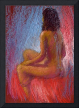 Girl on a red cloth