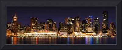 Vancouver Skyline reflecting at night photograph