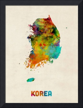 Korea Watercolor Map