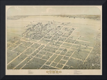 Augustus Koch~Birds Eye View of Cuero, De Witt Cou