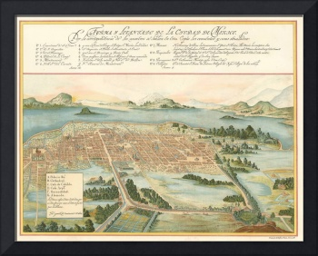 Vintage Pictorial Map of Mexico City (1628)