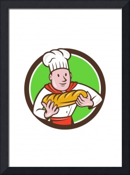 Baker Holding Bread Loaf Circle Cartoon