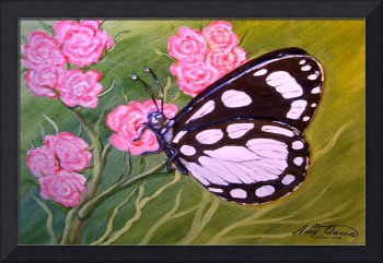 butterfly and peonies