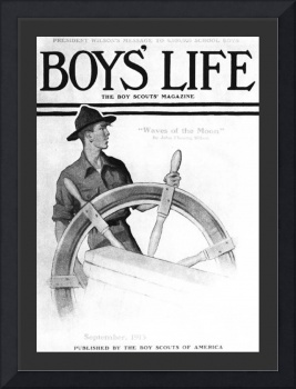 Scout At Ship's Wheel by N Rockwell lg border