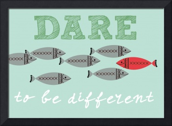 Scandinavian design fish poster dare to be free