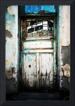 Door With Reflection In Flaking Paint