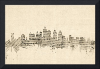Philadelphia Pennsylvania Skyline Sheet Music City