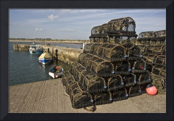 Northumberland, England Lobster Traps Piled Up On