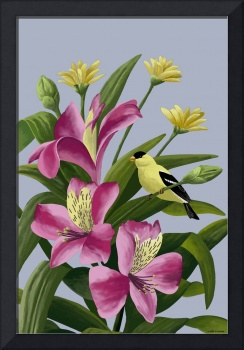 Flowers With Goldfinch