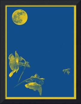 Luna, Bee and Flower Minimalist Poster v4a
