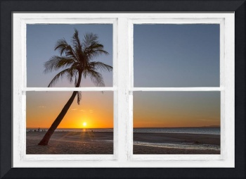 Tropical Paradise Sunrise Whitewash Window View