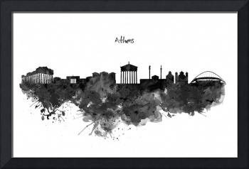 Athens Black And White Skyline