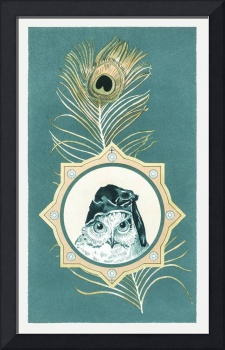 Vintage Christmas Card Design with Owl